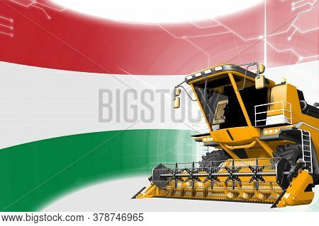 Digital Industrial 3d Illustration Of Yellow Advanced Rye Combine Harvester On Hungary Flag - Agricu