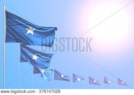 Cute Memorial Day Flag 3d Illustration  - Many Somalia Flags Placed Diagonal With Bokeh And Empty Pl