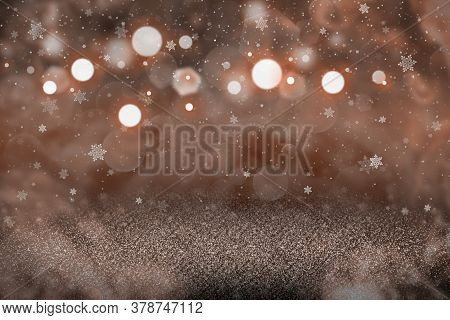 Red Nice Bright Abstract Background Glitter Lights With Falling Snow Flakes Fly Defocused Bokeh - Ho