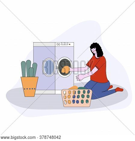 Woman Doing Laundry Putting Dirty Clothes On Washing Machine From Basket. Vector Illustration Cartoo