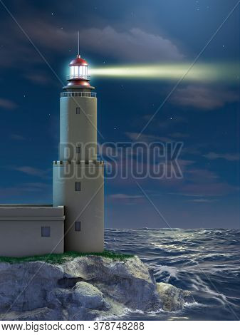 Lighthouse at night over a dramatic seascape. 3D illustration.