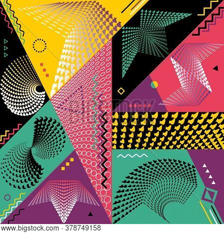 Abstract Modern Backgrounds Set. Trendy 80s-90s Style With Geometric Forms And Shapes