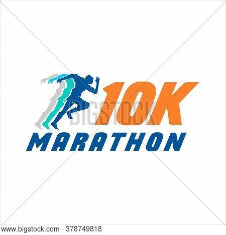 10k Run Logo Design Vector Stock Symbol .running Logo Sport Concept . Running Marathon Logo Design T