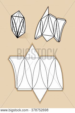 Complex Form With Blueprint Template. Vector Illustration