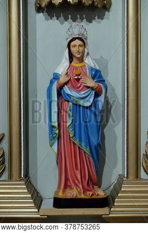 BARUIPUR, INDIA - FEBRUARY 27, 2020: The Immaculate Heart of Mary, a statue at the Catholic cathedral of Immaculate Heart of Mary and St. Teresa of Calcutta in Baruipur, West Bengal, India