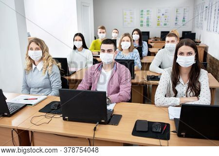 Students With Face Masks, Safety Protocol