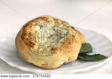 Pie Four Cheeses, Quiche Lorraine. Homemade Tart.