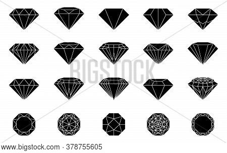Diamond Jewelry In Flat Style.  Abstract Jewelry Gemstones Isolated On White. Black Crystals.