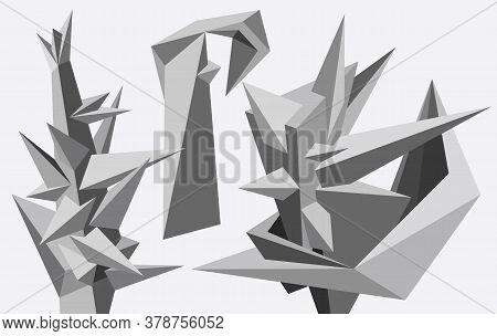 Abstract Geometric Modern Asymmetric Forms Design Set. Vector Illustration