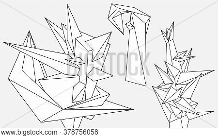 Abstract Geometric Modern Asymmetric Forms Design Set. Vector Outline Illustration