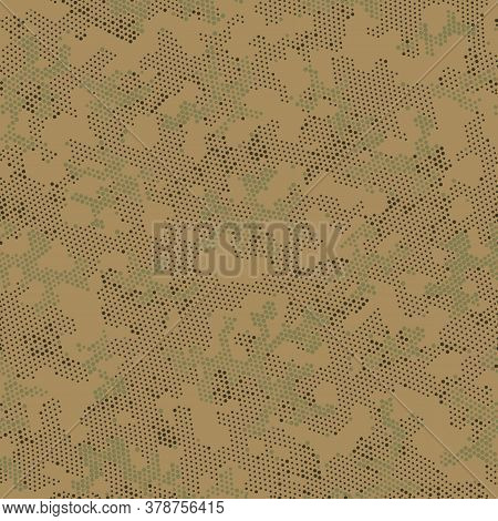 Green Repeated Point Camouflage, Graphic Camo.  Seamless Vector Brown Circle, Camo Design. Khaki Sea