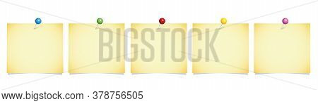 Set Of White Note Paper With Colorful Pins Isolated On A White Background Vector Illustration Eps10