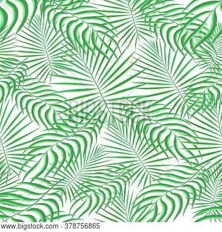 Tropical Pattern Seamless Background. Palm Leaves, Modern Seamless Summer Tropic Art. Colorful Trend