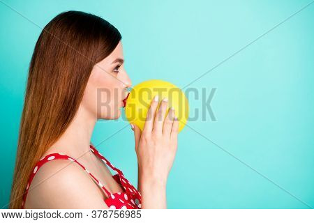 Profile Photo Of Attractive Lady Look Side Empty Space Hold Helium Air Balloon Inside Mouth Breathe