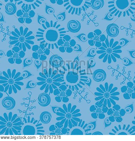 Vector Flower Silhouettes In Blue On Blue Background Seamless Repeat Pattern. Background For Textile
