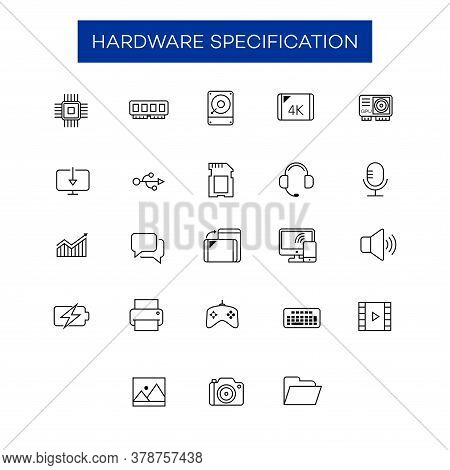 Collection Of Electronic Device Hardware Icons. Appropriate For The Design Elements Of The Hardware