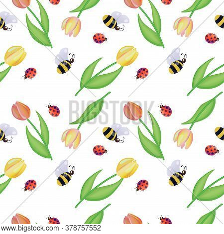 Seamless Pattern With Tulips, Bees And Ladybugs On White Background. Vector Design.