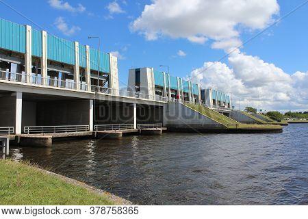 Lauwersoog, Netherlands, 21 July 2020: The R.j. Cleveringsluizen (clevering Locks) On The Friesland/