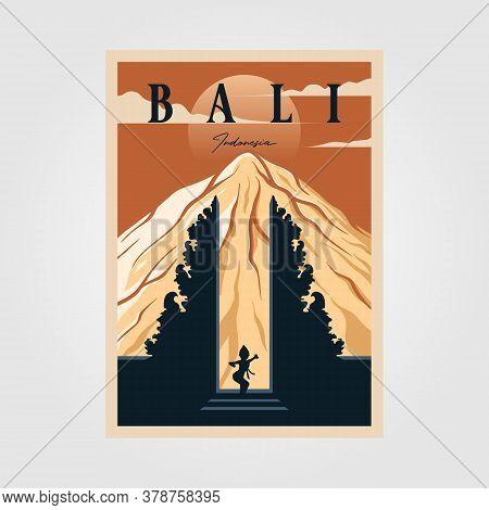Bali Province Indonesian Vintage Poster Culture Illustration Design, Travel Poster Design