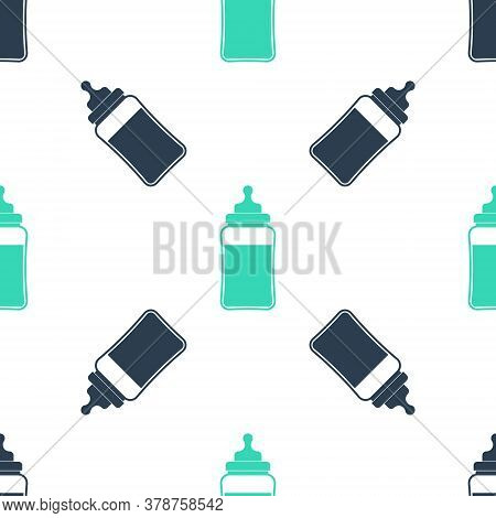 Green Baby Bottle Icon Isolated Seamless Pattern On White Background. Feeding Bottle Icon. Milk Bott