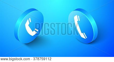 Isometric Telephone Handset Icon Isolated On Blue Background. Phone Sign. Call Support Center Symbol