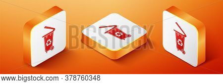 Isometric Recycle Bin With Recycle Symbol Icon Isolated On Orange Background. Trash Can Icon. Garbag