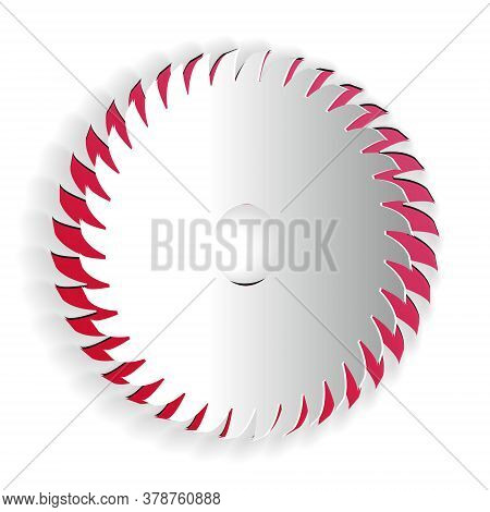 Paper Cut Circular Saw Blade Icon Isolated On White Background. Saw Wheel. Paper Art Style. Vector