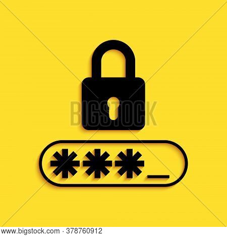 Black Password Protection And Safety Access Icon Isolated On Yellow Background. Lock Icon. Security,
