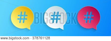Paper Cut Hashtag In Circle Icon Isolated On Blue Background. Social Media Symbol, Concept Of Number