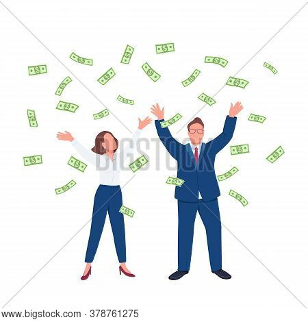 Business People Throwing Cash Up Flat Concept Vector Illustration. Man And Woman Under Money Rain. M