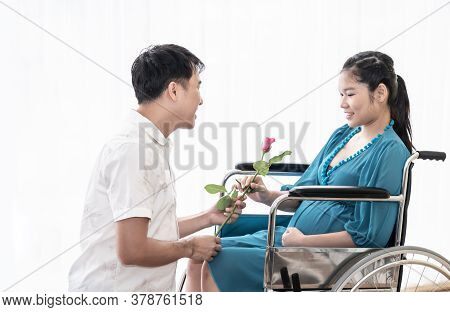 Asian Husband Give Roses Flower On Valentine's Day To Show Love Towards His Wife Where She Is Pregna