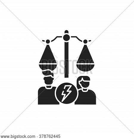 Divorse Glyph Black Icon. Judiciary Concept. Family Law. Sign For Web Page, Mobile App, Button, Logo