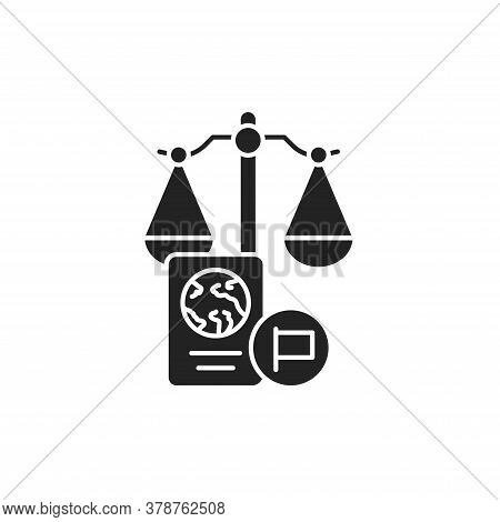 Customs Court Glyph Black Icon. Judiciary Concept. Immigration Law Element. Sign For Web Page, Mobil