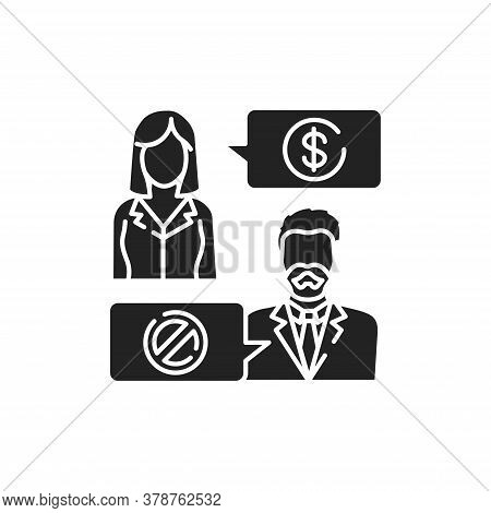 Refusal Of A Bribe Glyph Black Icon. Business Bribery And Kickback Corruption Concept. Sign For Web