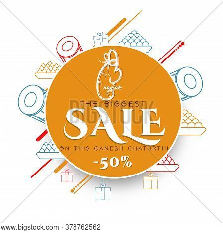 Lord Ganpati In Vector For Happy Ganesh Chaturthi Festival Celebration Of India Shopping Sale Doodle