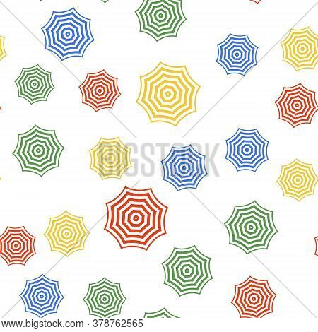 Color Sun Protective Umbrella Fo Beach Icon Isolated Seamless Pattern On White Background. Large Par