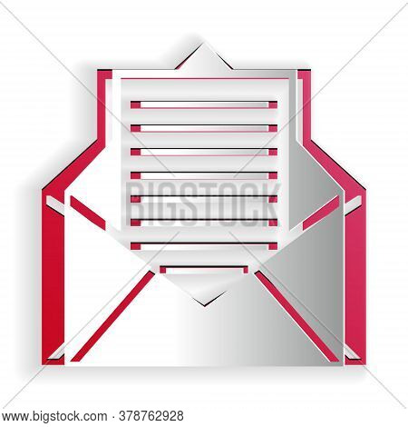 Paper Cut Mail And E-mail Icon Isolated On White Background. Envelope Symbol E-mail. Email Message S