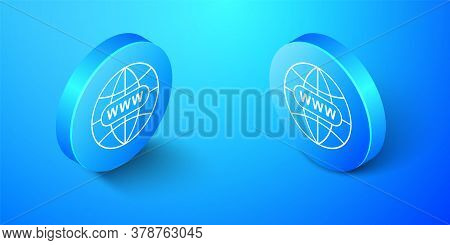Isometric Go To Web Icon Isolated On Blue Background. Www Icon. Website Pictogram. World Wide Web Sy