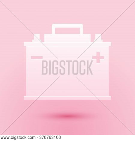 Paper Cut Car Battery Icon Isolated On Pink Background. Accumulator Battery Energy Power And Electri
