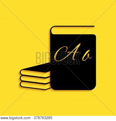 Black Abc Book Icon Isolated On Yellow Background. Dictionary Book Sign. Alphabet Book Icon. Long Sh