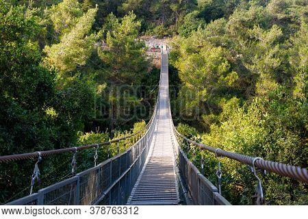 Nesher, Israel, July 17, 2020 : The Suspension Bridge In The Public Nesher Park Suspension Bridges I