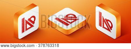 Isometric Set Ruler, Triangular Ruler And Protractor Icon Isolated On Orange Background. Straightedg