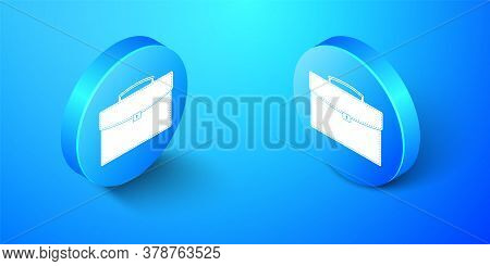 Isometric Briefcase Icon Isolated On Blue Background. Business Case Sign. Business Portfolio. Blue C