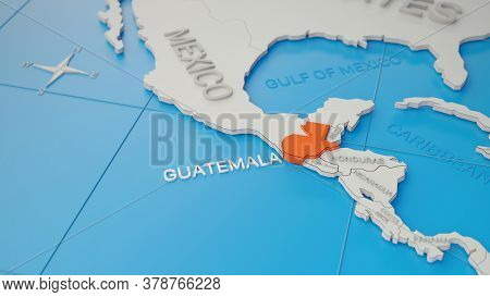 Guatemala Highlighted On A White Simplified 3d World Map. Digital 3d Render.