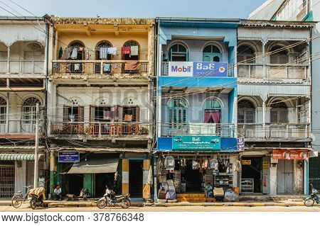 Mawlamyine, Myanmar - February 3, 2020. Colonial Colorful Houses Of The Fourth Largest City Of Myanm