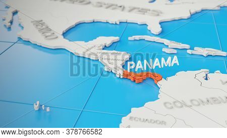 Panama Highlighted On A White Simplified 3d World Map. Digital 3d Render.