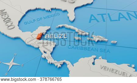 Belize Highlighted On A White Simplified 3d World Map. Digital 3d Render.