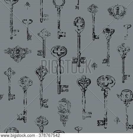 Hand-drawn Seamless Pattern With Vintage Keys And Keyholes In The Grunge Style. Vector Illustration