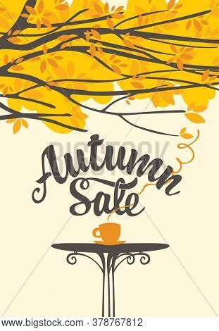 Autumn Banner With Inscription Autumn Sale. Vector Illustration In Flat Style With A Cup Of Hot Tea