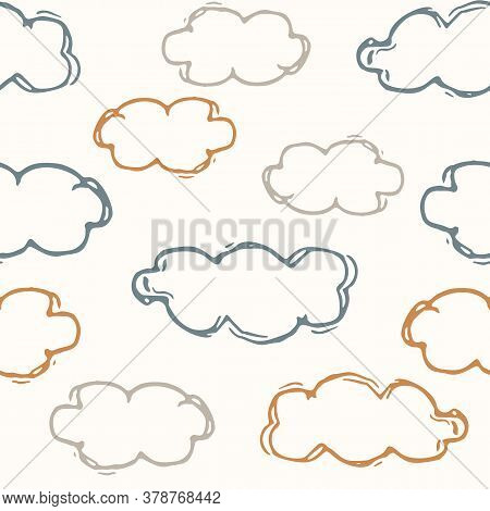 Seamless Background Sky Cloud Gender Neutral Baby Pattern. Simple Whimsical Minimal Earthy 2 Tone Co